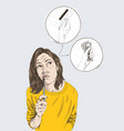 young beautiful woman thinking about money and vector image