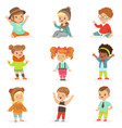 young children dressed in cute kids fashion vector image