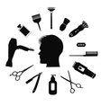 Silhouette of man with Barber tools vector image