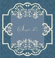 Vintage frame with damask seamless background vector image