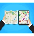 World Map Mobile GPS Navigation vector image