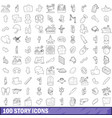 100 story icons set outline style vector image vector image