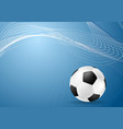 Abstract blue wavy soccer background with ball vector image