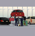 auto mechanic fixing a car under the hood vector image