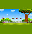 beautiful view with the large tree vector image vector image