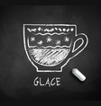 black and white sketch of glace coffee vector image vector image