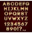 bold golden neon alphabet letters on dark vector image