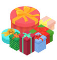 bright colorful present and gift boxes with vector image vector image