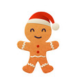 cartoon gingerbread cookie in santa claus vector image