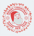 christmas round red print with the silhouette of vector image vector image