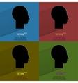 Color set Man silhouette profile picture Flat vector image