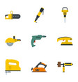 construction electric tool icon set flat style vector image vector image