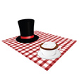 cup of coffe with hat on tablecloth vector image vector image