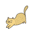 cute ginger cat stretching isolated element vector image vector image