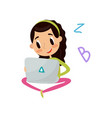 cute girl sitting on the floor with laptop vector image