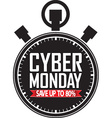 Cyber monday save up to 80 stopwatch black icon vector image vector image