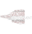 developer word cloud concept vector image vector image