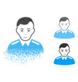 dispersed pixelated halftone officer icon with vector image vector image