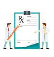 doctor writing prescription rx prescription form vector image vector image