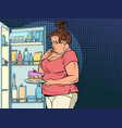 fat woman at open refrigerator with food vector image