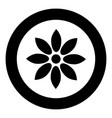 flower black icon in circle isolated vector image vector image