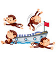 four monkeys playing on bed vector image vector image