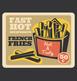 french fries pack retro banner fast food vector image