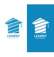 graduate hat logo combination school vector image