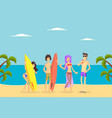 happy people standing with surfboards on tropical vector image vector image