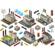 Isometric Building Factory Set vector image vector image