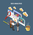 isometric web seo composition vector image vector image