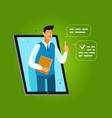 learning provided through an application on laptop vector image vector image