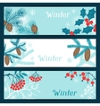 Merry Christmas banners with stylized winter vector image vector image