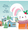 merry christmas happy new year 2020 cute rabbit vector image vector image