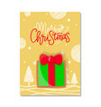 merry christmas winter holiday greeting present vector image vector image