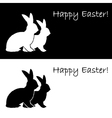 Monochrome silhouette of two Easter bunny rabbits vector image vector image
