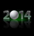 new year 2014 metal numerals with golf ball vector image vector image