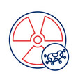 nuclear symbol with covid19 19 particle line style vector image vector image