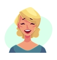 Pretty blond woman laughing facial expression vector image vector image