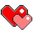 red and pink pixel heart isolated vector image