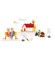 robots free people from housework countryside vector image vector image