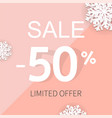 sale poster with percent and snowflake vector image vector image