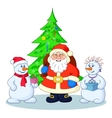 Santa Claus Christmas tree and snowmans vector image vector image