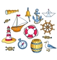 Set of sea objects vector image vector image
