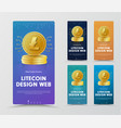 set of vertical web banners with a gold coin of vector image vector image