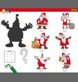 shadows game with cartoon christmas santa vector image vector image
