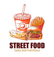 street food banner tasty and nutritious logo vector image