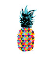 Summer pineapple design with color hipster shapes vector image vector image