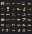 transport icons set simple style vector image vector image