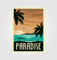 tropical paradise beach vintage poster design vector image